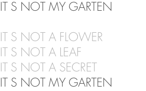 IT S NOT MY GARTEN IT S NOT A FLOWER IT S NOT A LEAF IT S NOT A SECRET